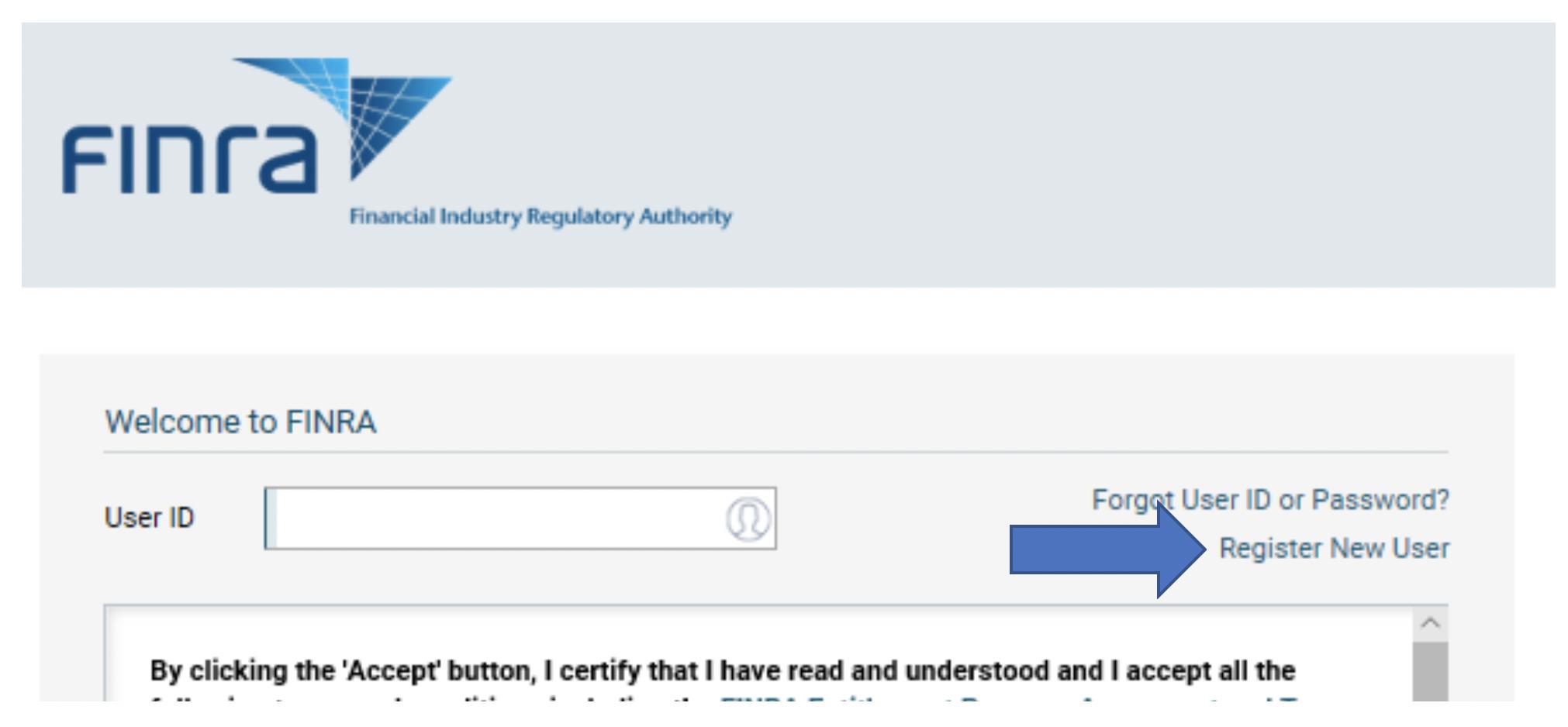Register new finra user